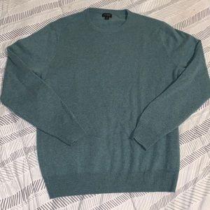 Men's j crew green cashmere crewneck pullover sweater size m